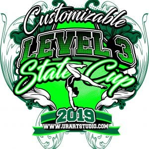 GYMNASTICS LEVEL 3 STATE CUP customizable T-shirt vector logo design for print 2019
