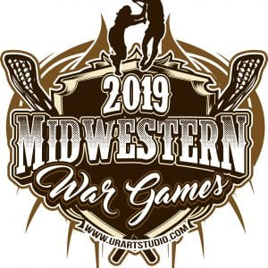 MIDWESTERN WAR GAMES Lacrosse customizable T-shirt vector logo design for print 2019