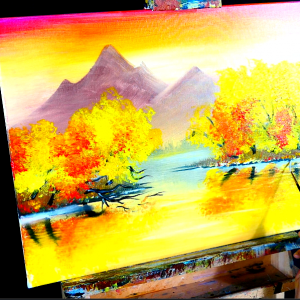 Simple acrylic golden landscape step by step painting