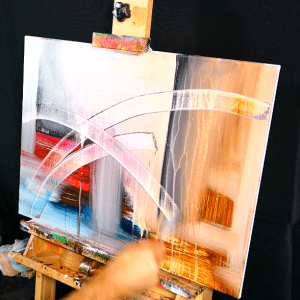 Simple step by step acrylic abstract painting pallet knife