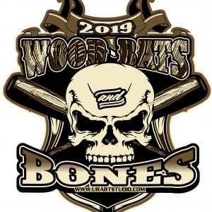 WOOD BATS AND BONES customizable T-shirt vector logo design for print 2019