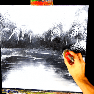 2 color challenge, black and white, landscape painting for beginners made simple (3)