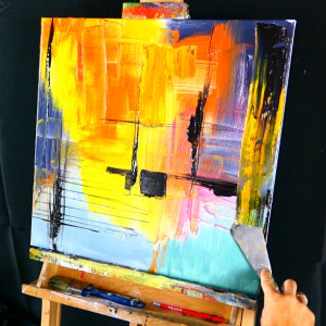 Easy abstract painting with pallet knife and a round brush step by step tutorial
