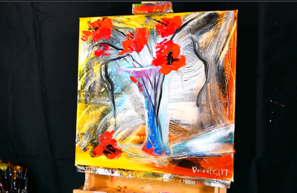 Painting for beginners, abstract background using pallet knife, red flowers in vase