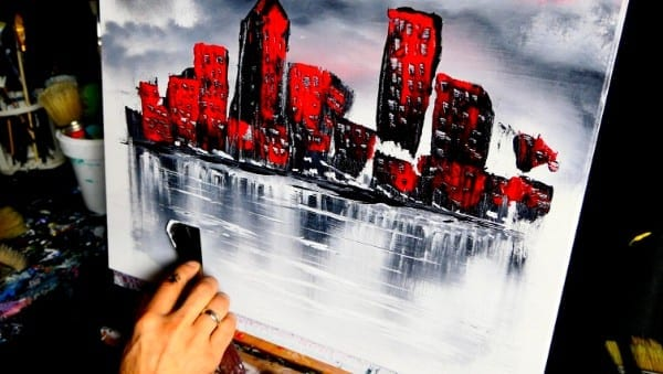 RED CITYSCAPE ABSTRACT PAINTING VIDEO DEMO BY DRANITSIN