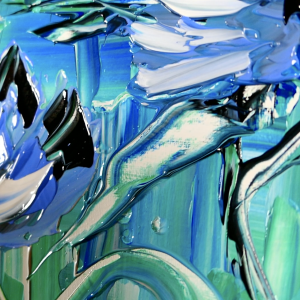 Abstract painting blue flower pallet knife and acrylic paint
