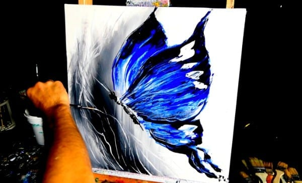 BLUE BUTTERFLY - abstract painting by Dranitsin
