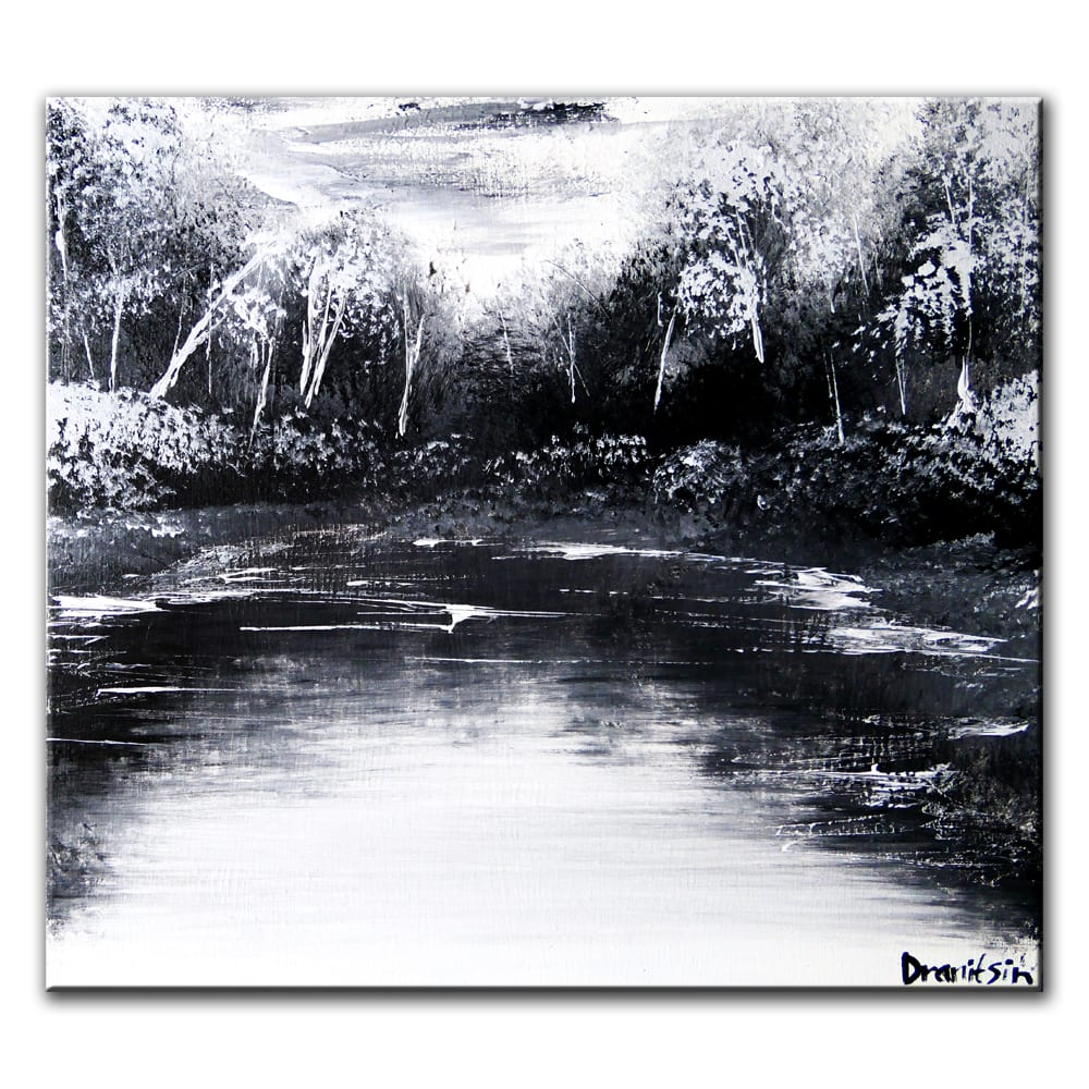 BLACK AND WHITE LANDSCAPE, original painting by Dranitsin