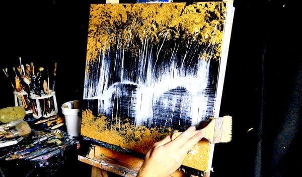 GOLD ON BLACK ABSTRACT PAINTING BY DRANITSIN