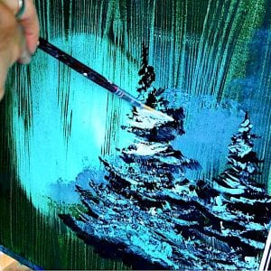 GREEN ABSTRACT PAINTING - EVERGREEN TREES - by DRANITSIN