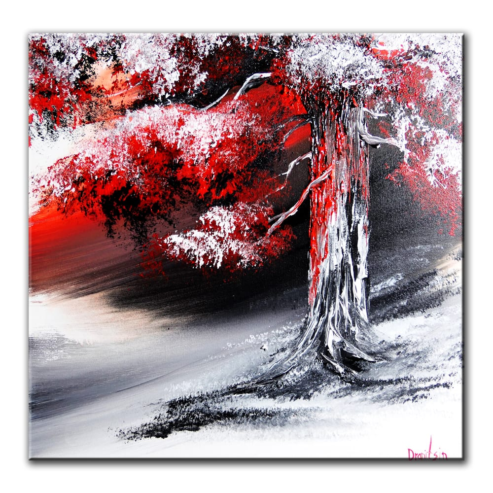 RED ON BLACK, original tree painting by Dranitsin