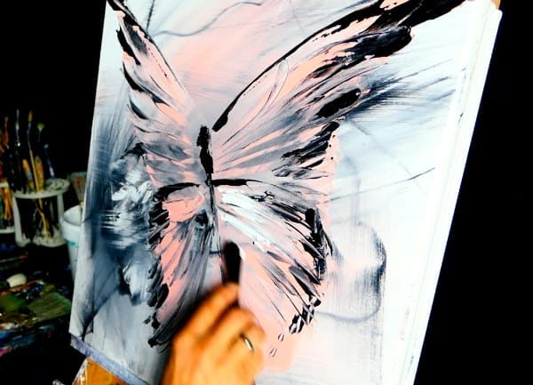 PINK BUTTERFLY - acrylic painting video slow motion for meditation