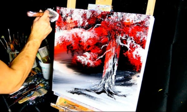 red on black oak tree abstract painting video demo by Dranitsin