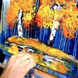 ABSTRACT PAINTING BY DRANITSIN - 2 BIRCH TREES