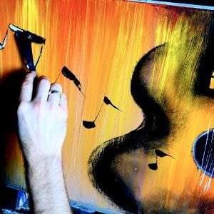 THE REASON, ABSTRACT PAINTING BY DRANITSIN, ACOUSTIC GUITAR, MUSICAL NOTES