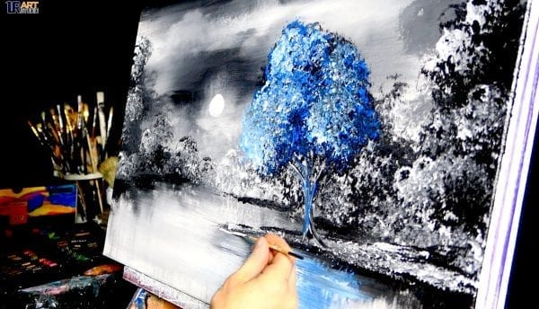 """SLOW MOTION - """"No One Else"""" - blue tree, acrylic, abstract, landscape painting by Dranitsin"""