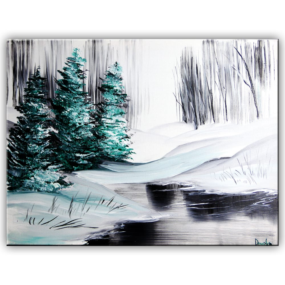 FROZEN POND, ACRYLIC PAINTING, BY DRANITSIN