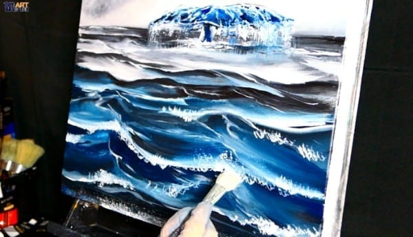BLUE WHALE | ACRYLICS | OCEAN WAVES PAINTING TECHNIQUES | DRANITSIN