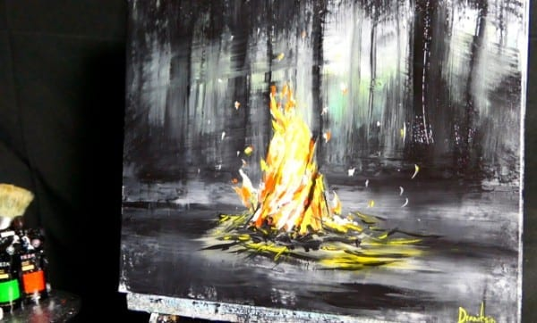 CAMPFIRE | SLOWER VERSION | SIMPLE ACRYLIC PAINTING TECHNIQUES | DRANITSIN