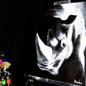 POWERFUL BEAST | WHITE RHINO | SINGLE COLOR | 3D PAINTING | ACRYLIC PAINTING TECHNIQUES | DRANITSIN