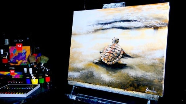 TURTLE ON THE BEACH | DETAILED ACRYLIC PAINTING TECHNIQUES | DRANITSIN