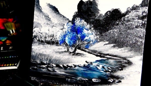 abstract painting, blue tree, by Dranitsinabstract painting, blue tree, by Dranitsin