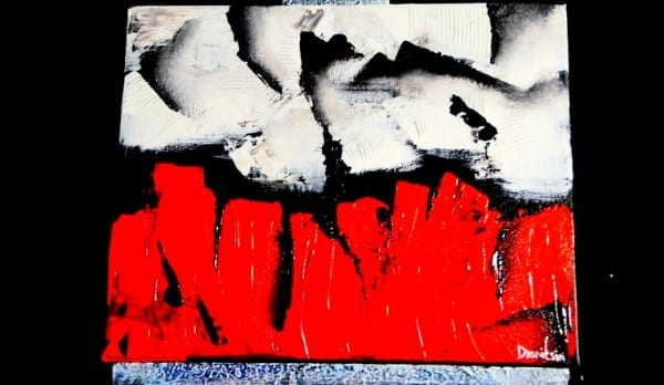 RED AND WHITE CONTRAST, ABSTRACT PAINTING, BY DRANITSIN