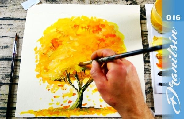 Autumn Tree simple step by step watercolor painting demo for beginners | 016