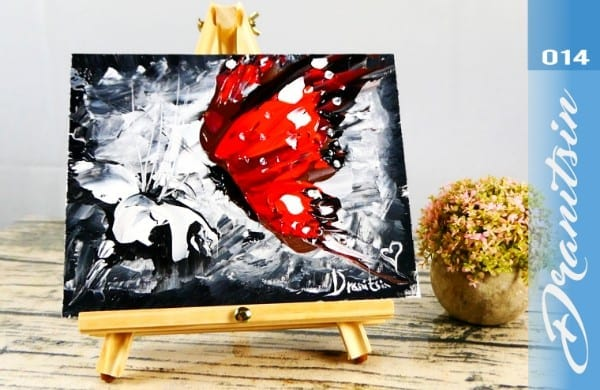 red butterfly, simple painting step by step free art lesson by Dranitsin