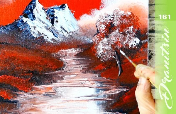 Exclusive painting demonstration, how to paint a mountain scene in 3 colors, 161