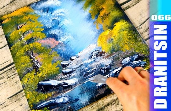 How to paint Magical Landscape and a Shallow Creek acrylic painting demonstration, 065