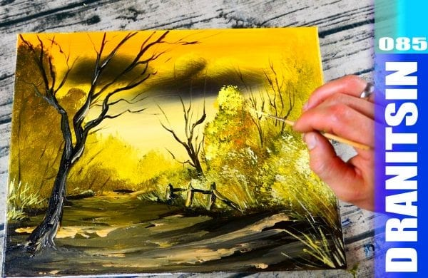 Golden Autumn, acrylic painting step by step painting demonstration, 085