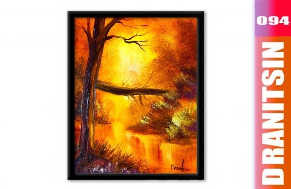 'Golden Glow' - how to paint a glow of light, acrylic landscape painting demonstration, 094