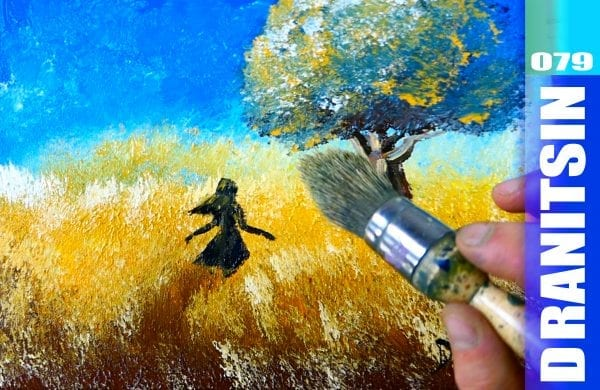 How to paint a girl walking through the field, simple oval brush acrylic painting techniques, 079
