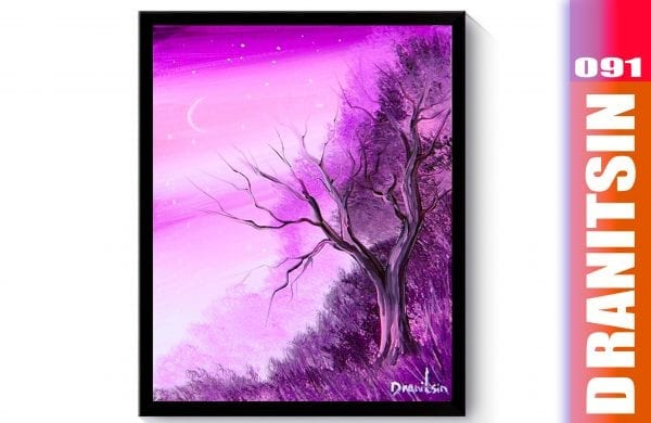 'Purple Night' how to paint landscape in layers, wet on wet acrylic painting techniques, 091