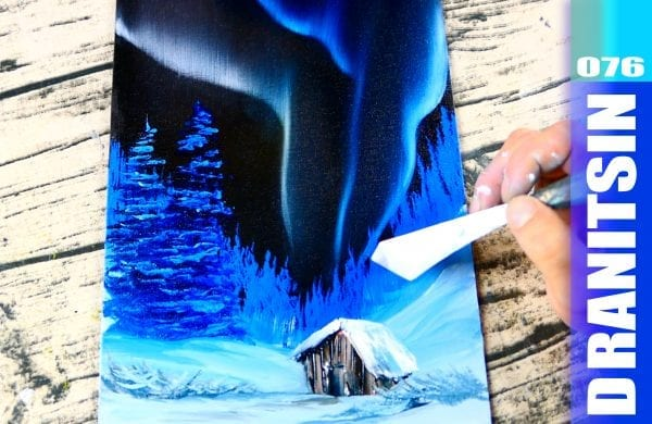 Relaxing and enjoyable oil painting techniques - how to paint Northern Light, Winter Landscape, 076
