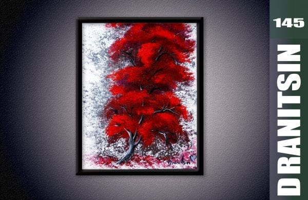Unique painting, red tree, abstract background using sponge, oval brush blending techniques, 145