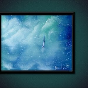 UNIQUE painting idea - FAIRYTALE, clouds, sky, ocean, boat, ABSTRACT, SEASCAPE, oval brush, 136