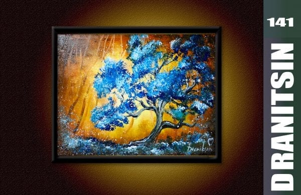Unique Painting Approach, blue tree, yellow abstract background, oval brush techniques, 141