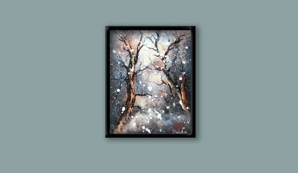 How to utilize oval brush and pallet knife to create snowfall in abstract landscape painting, 103