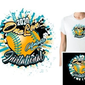 SOFTBALL ONE LOVE ADJUSTABLE VECTOR LOGO DESIGN FOR PRINT 0022