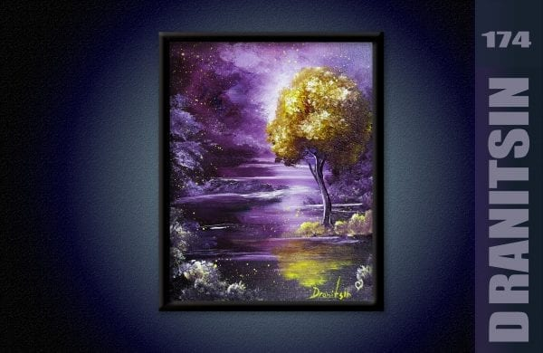 How-to-paint-gold-magical-tree-in-purple-landscape-oval-brush-techniques-174