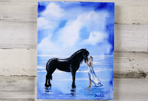 girl and a horse original painting