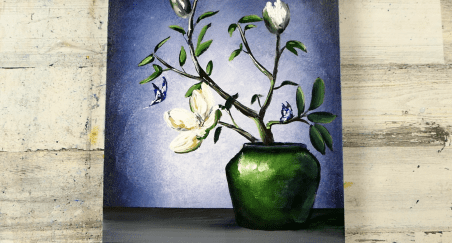 how-to-paint-beautiful-flowers-in-green-pot-and-butterflies-by-Dranitsin-Peter