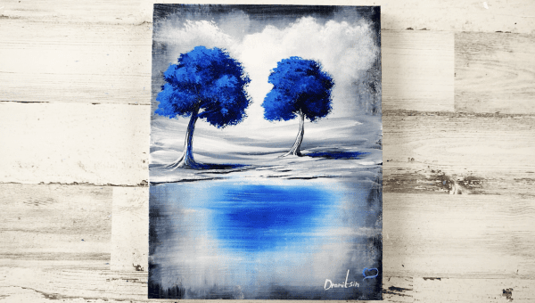 blue trees abstract painting