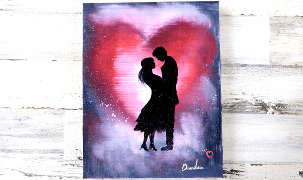 Heart painting, couple in love, by Dranitsin