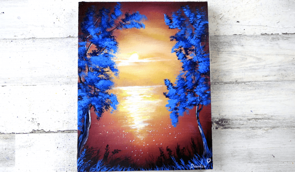 Blue Trees at Sunset
