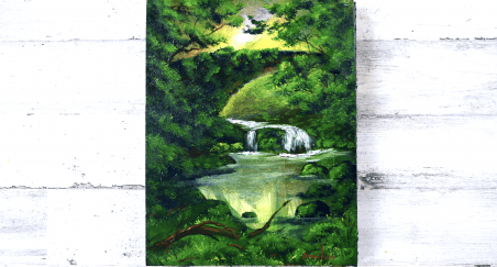 painting waterfall under green bridge by Peter Dranitsin