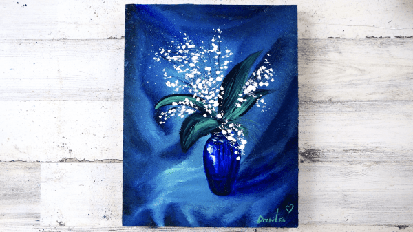 Blue Glass Vase with White Flowers