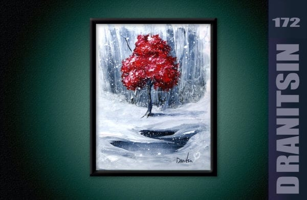 red tree on white snow painting by Peter Dranitsin, acrylics on canvas, abstract art